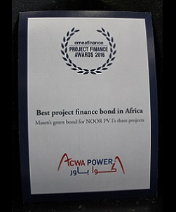 EMEA FINANCE, PROJECT FINANCE AWARDS 2016 – BEST PROJECT FINANCE BOND IN AFRICA