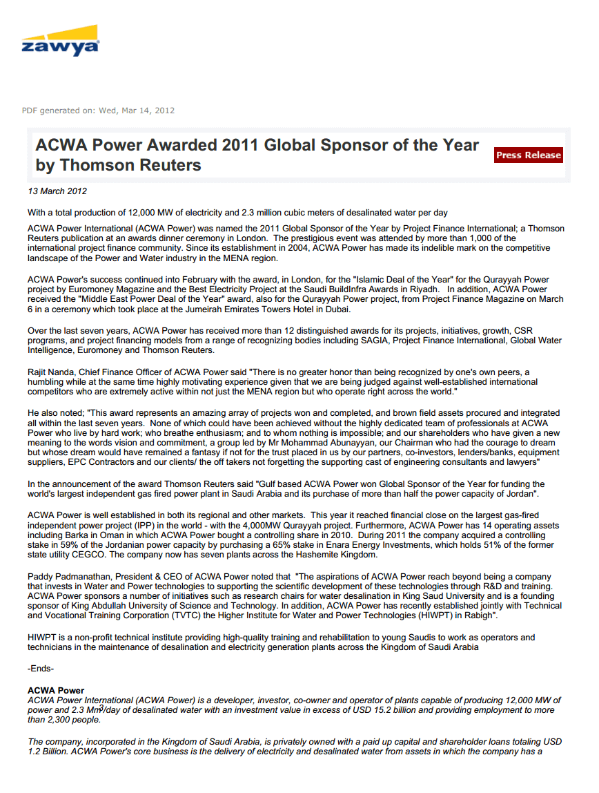 Acwa Power Awarded 2011 Global Sponsor Of The Year By Thomson Reuters (1)
